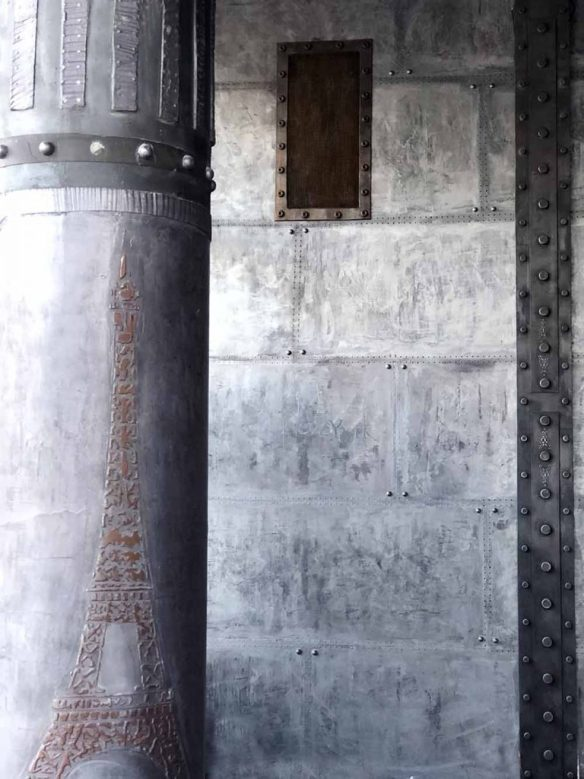 murs style industriel avec IPN style Eiffel et colonne customisée