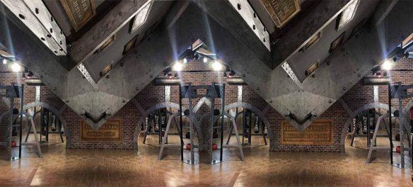 murs style industriel pour une salle de boxe style Eiffel