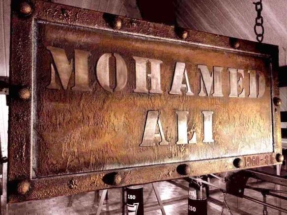 Enseignes métal en trompe l'oeil pour salle de boxe aux pyramides de port Marly