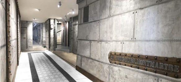Décoration hall d'immeuble avec des murs style industriel et des IPN style Eiffel