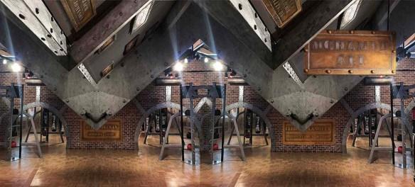 salle de sport au style industriel agrémentée de boulonnage style Eiffel, support BA13