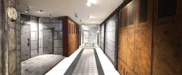 Hall d'immeuble transformé et oxydé riveté et boulonné