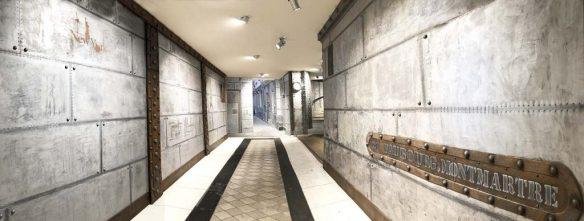 Revêtement mural pour hall d'entrée immeuble murs métal style industriel customisé Eiffel