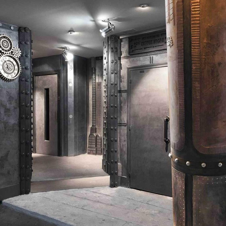 décor cinema style industriel sur murs métal