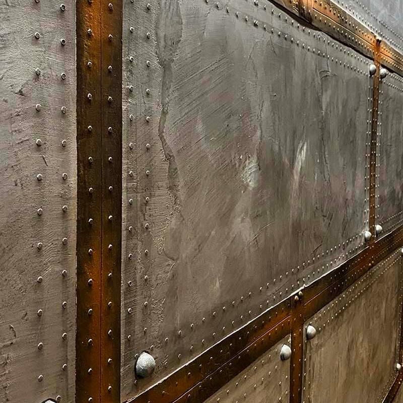 décorateur d'intérieur murs industriel mur métal style industriel à bandes oxydées