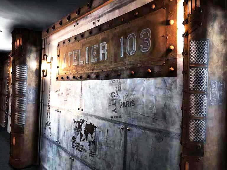Peintre décorateur de bistrot et murs métal et IPN style Eiffel