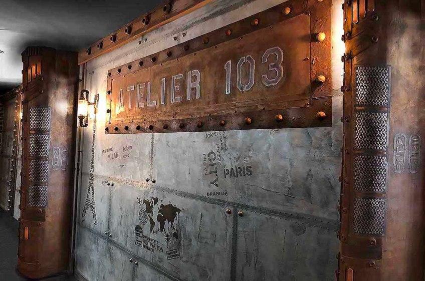 Peintre entrée hall d'immeuble décorateur d'intérieur murs métal et IPN style Eiffel