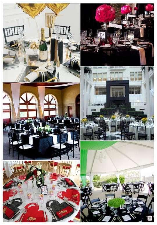 decoration mariage theme cinema couleurs decoration table noir et blanc rouge or fuchsia jaune