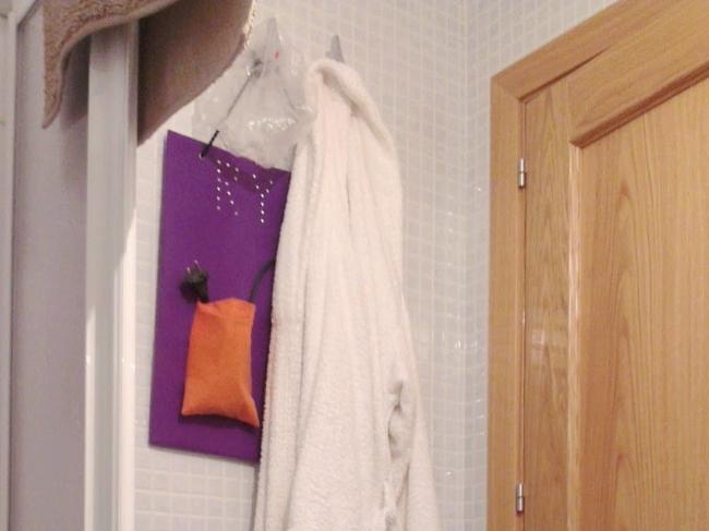 Albornoz, gorro de ducha y plancha de pelo