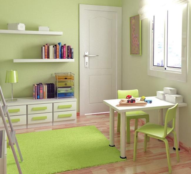 Inspiración: habitación infantil con pared color pistacho y muebles en blanco.
