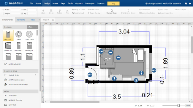 Plano del dormitorio en la herramienta web SmartDraw Floor Plan Creator