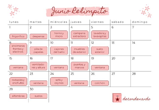 calendario para la limpieza de primavera con Junio Relimpito de decordenando.com