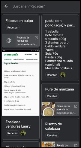 app Google Keep usada como recetario