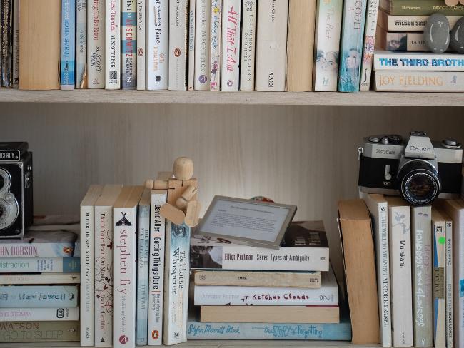 libros en una estantería