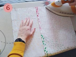paso 6 para unir el cojín con cinta termoadhesiva