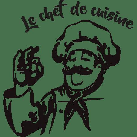 Sticker Chef De Cuisine Avec Un Personnage Et Son Plateau