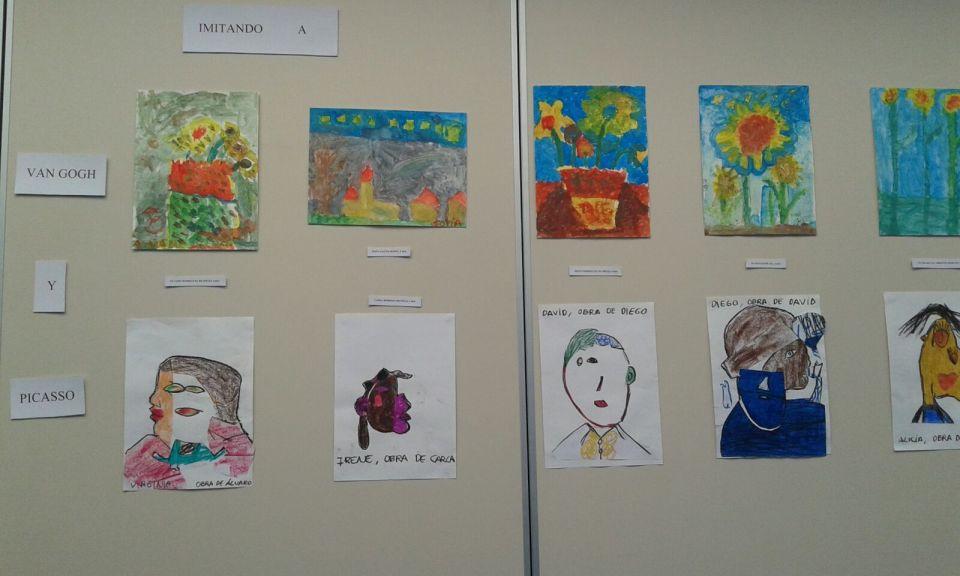 Pinturas imitando a Van Gogh y Picasso realizadas por niños