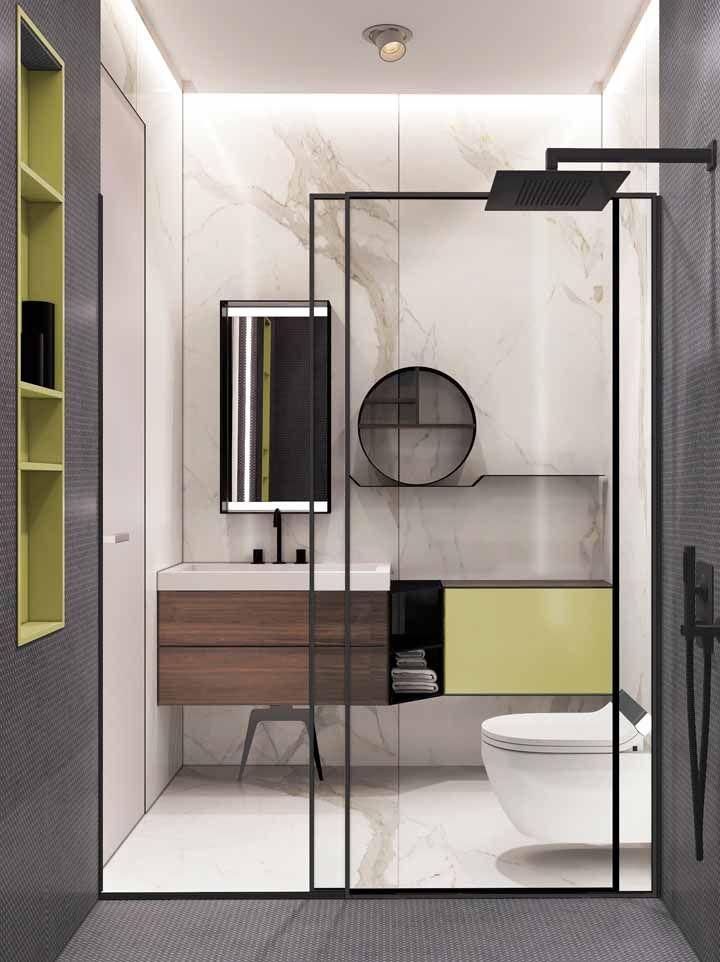 Opte por móveis planejados para dar aquele toque de cor na medida certa para o seu banheiro