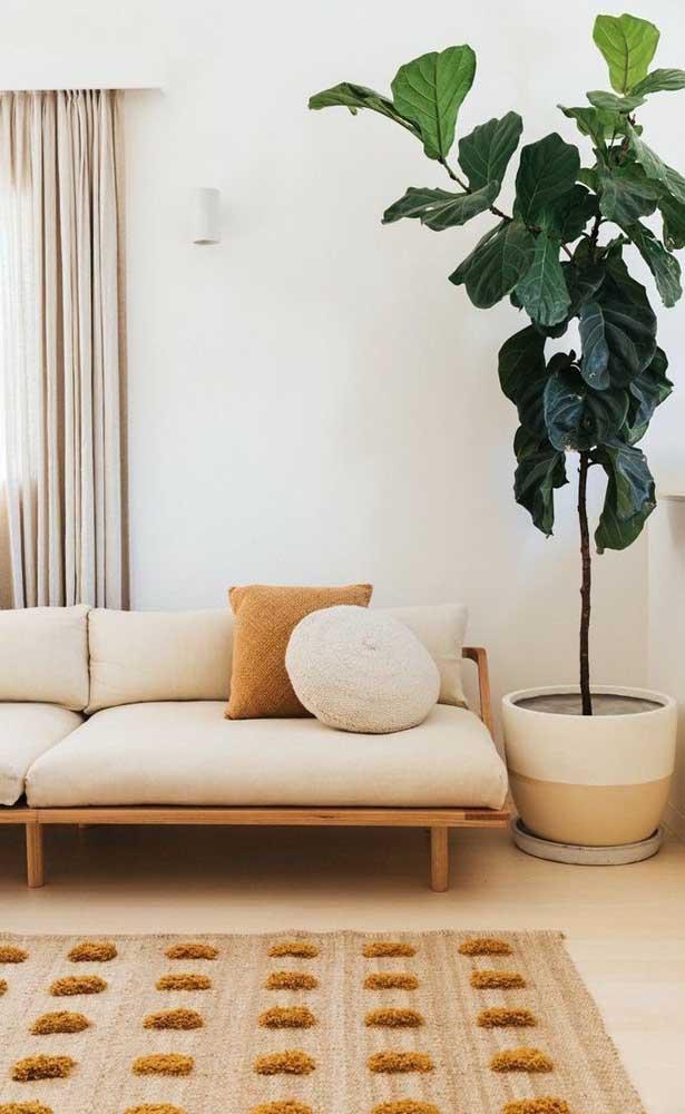 A cor marfim também é perfeita para quem deseja investir em texturas e fibras naturais