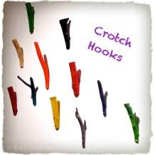 Painted tree crotch hooks