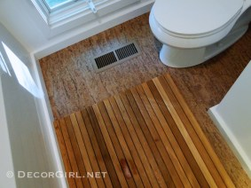Bathroom makeover cork floor