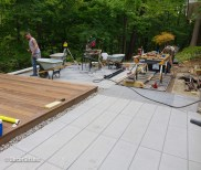 concrete pavers and ipe deck