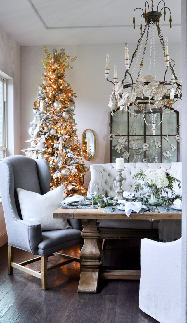 christmas tree on dining room table