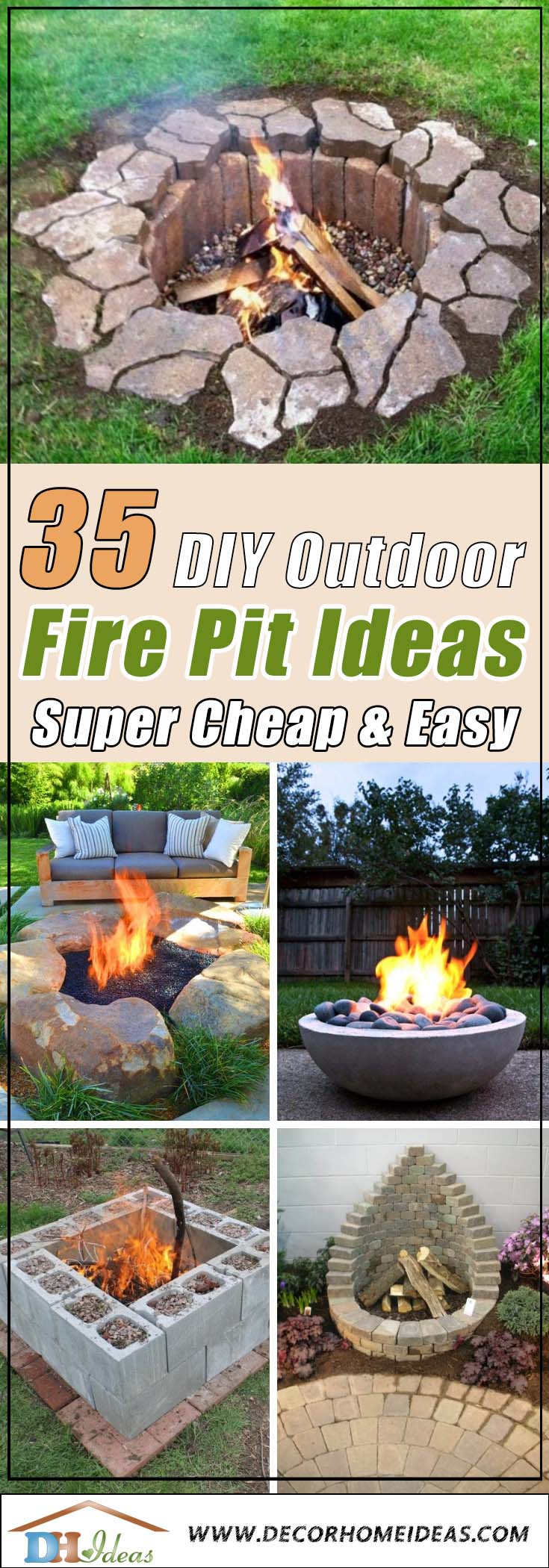 35 Best DIY Outdoor Fire Pit Ideas [ Super Cheap & Easy ... on Diy Outdoor Fire  id=95626