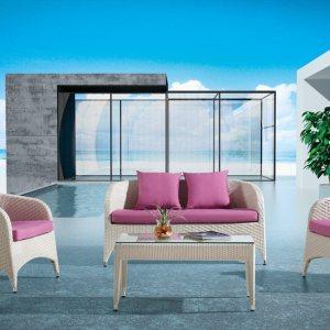 4 Piece Outdoor Wicker Loveseat Sofa Set