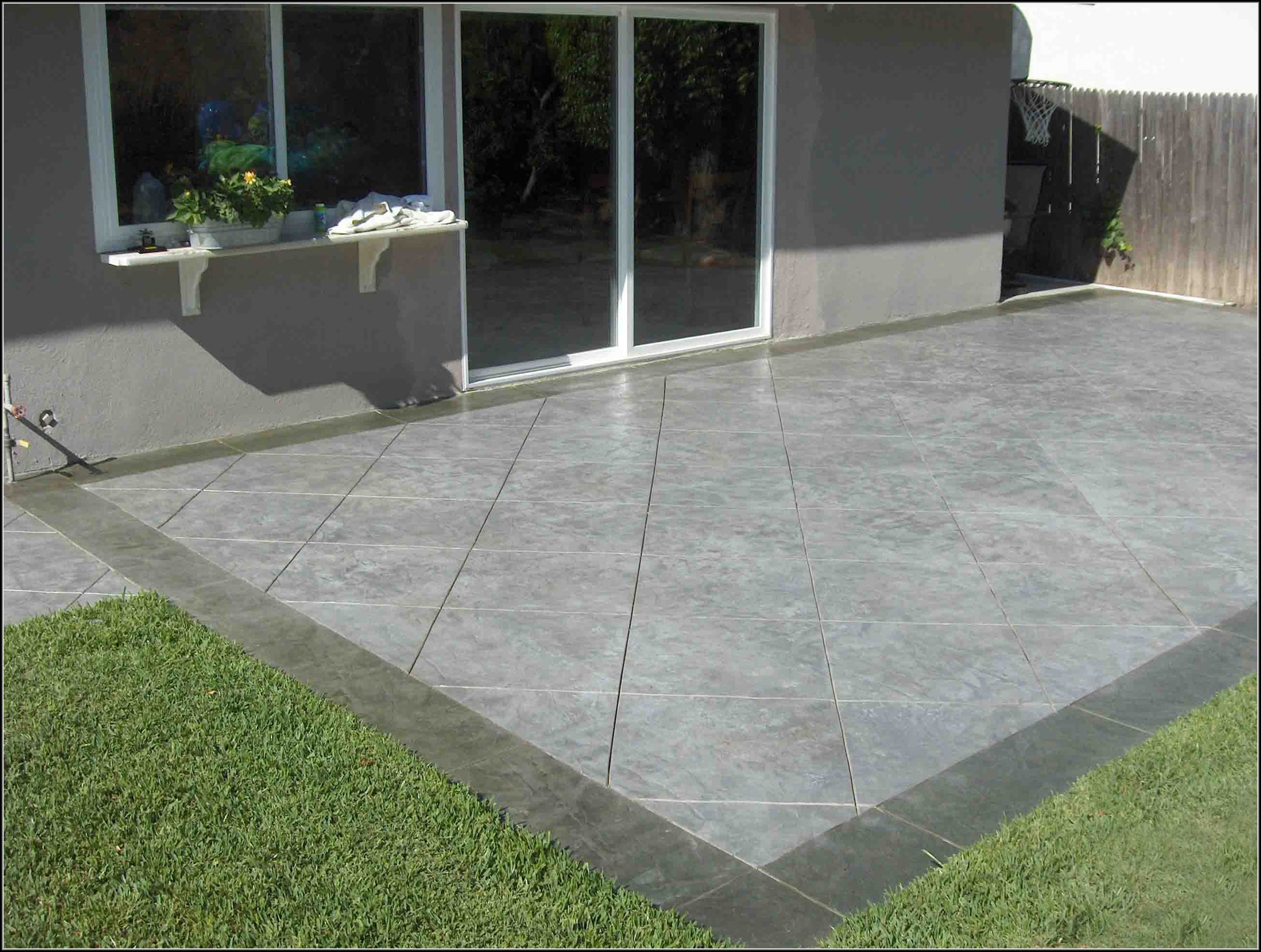 have cement patios which are long