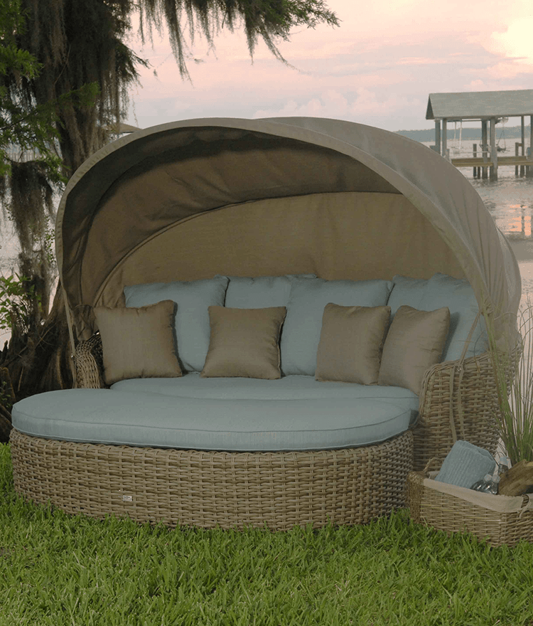 An Elegantly Luxurious Outdoor Daybed with Canopy ... on Belham Living Lilianna Outdoor Daybed id=40967