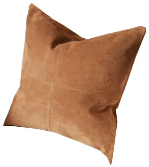 suede leather throw pillow tan