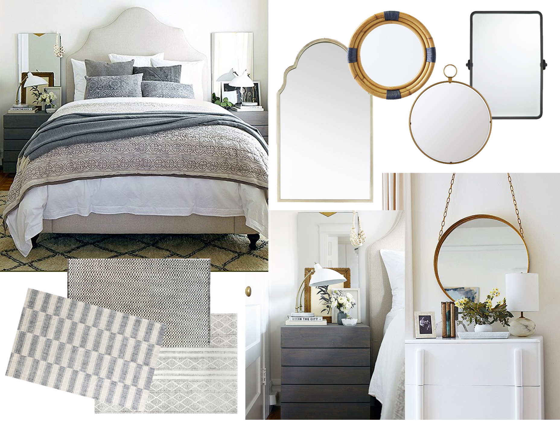 size mirrors for above my nightstands