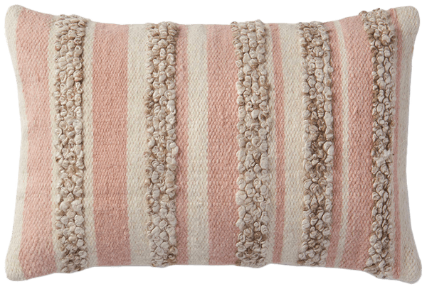 magnolia home by joanna gaines zander rectangle throw pillow in pink ivory