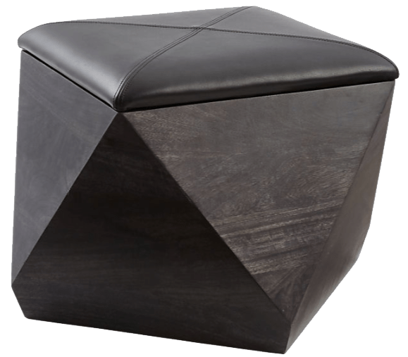 hex black leather storage ottoman