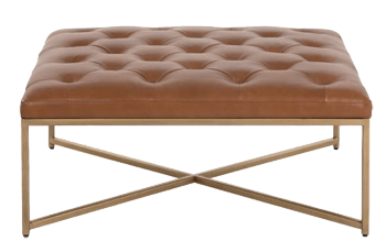 endall square leather tufted cocktail ottoman camel