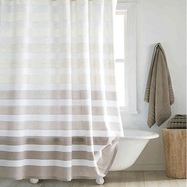 dkny highline stripe 72 inch x 72 inch shower curtain in taupe