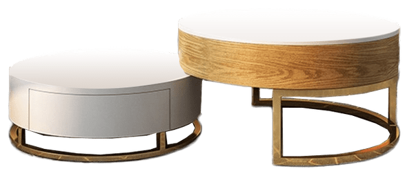 modern round coffee table with storage lift top wood coffee table with rotatable drawers in white natural