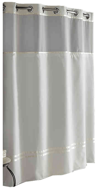 hookless escape 54 inch x 80 inch stall fabric shower curtain and liner set in ivory
