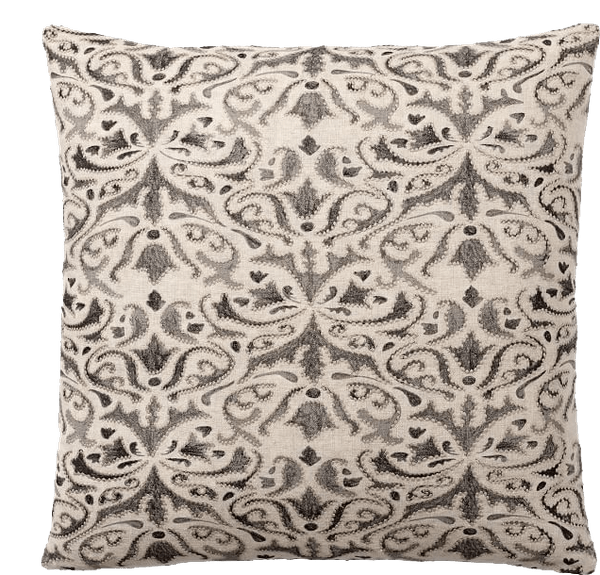 reilley linen embroidered pillow cover steel gray
