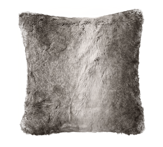 faux fur pillow cover gray ombre with insert