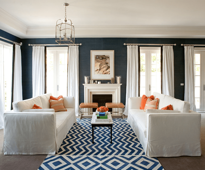 room with a navy accent wall