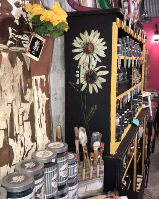 Flower Transfer on my Paint Shelf