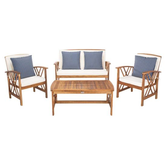 Safavaieh Fontana 4 Pc Outdoor Set - Natural/Beige/Nvywht on Fontana 4 Pc Outdoor Set id=73241