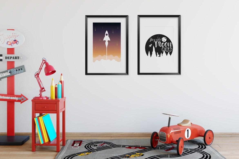 moty kosmosu na plakacie do pokoju dziecka