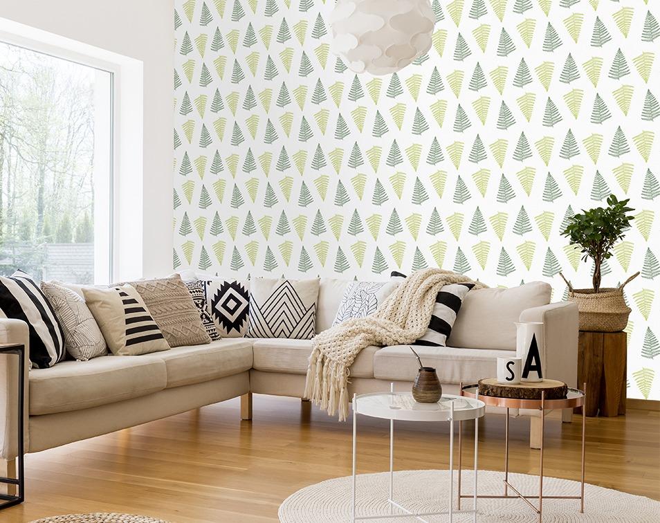 Motyw roślinny w duńskim hygge w salonie