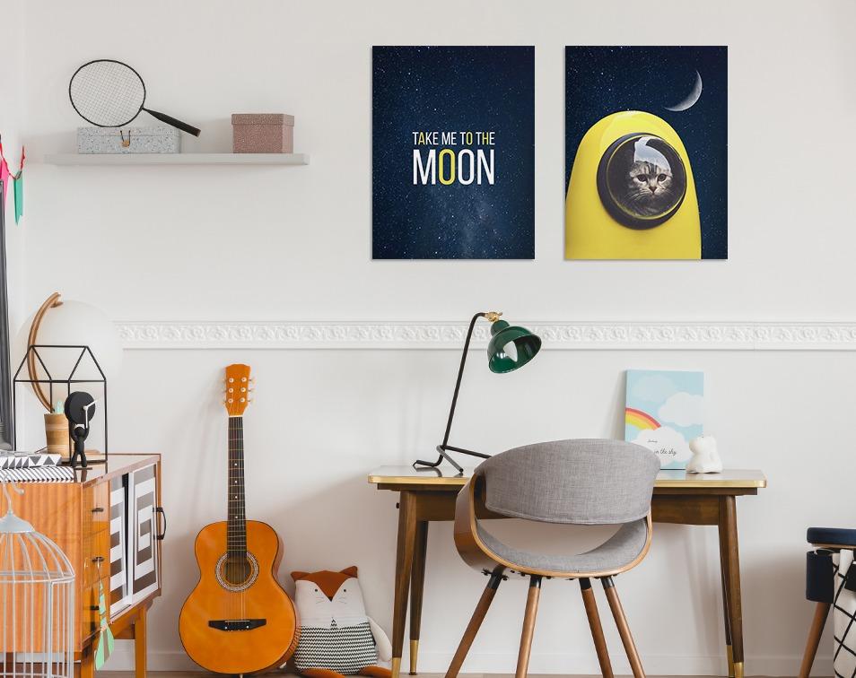 Kosmiczne plakaty dla dzieci z motywem kota w rakiecie
