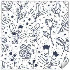 czarno-biale-drobne-kwiaty-tapeta