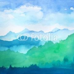 niebieskie-zielone-góry-akwarela-zimowe
