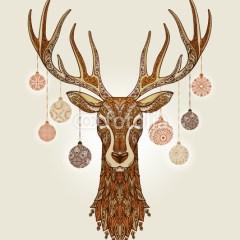 dekoracyjny-vintage-jeleń-plakat